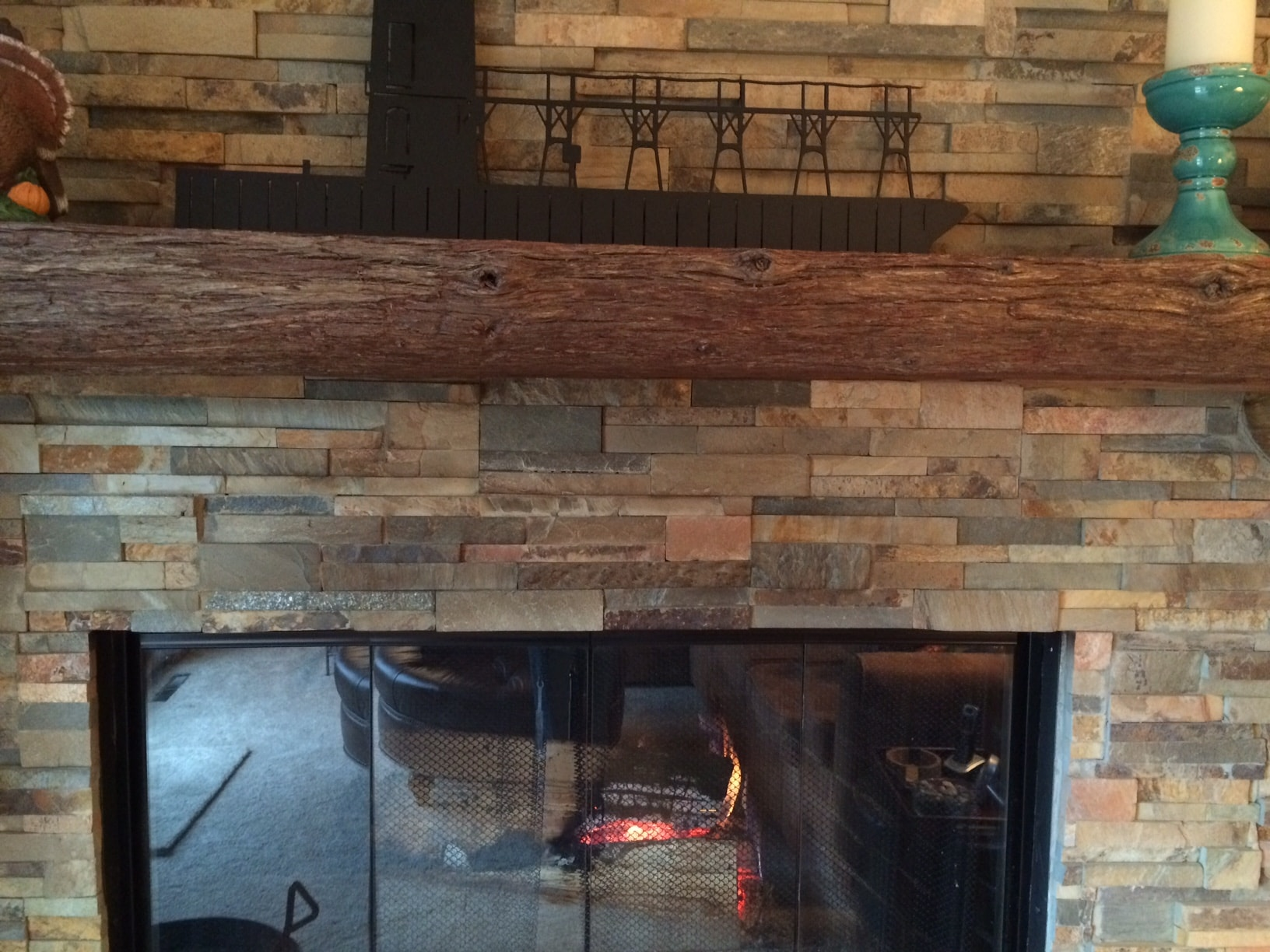 Soot Staining on a stacked stone fireplace