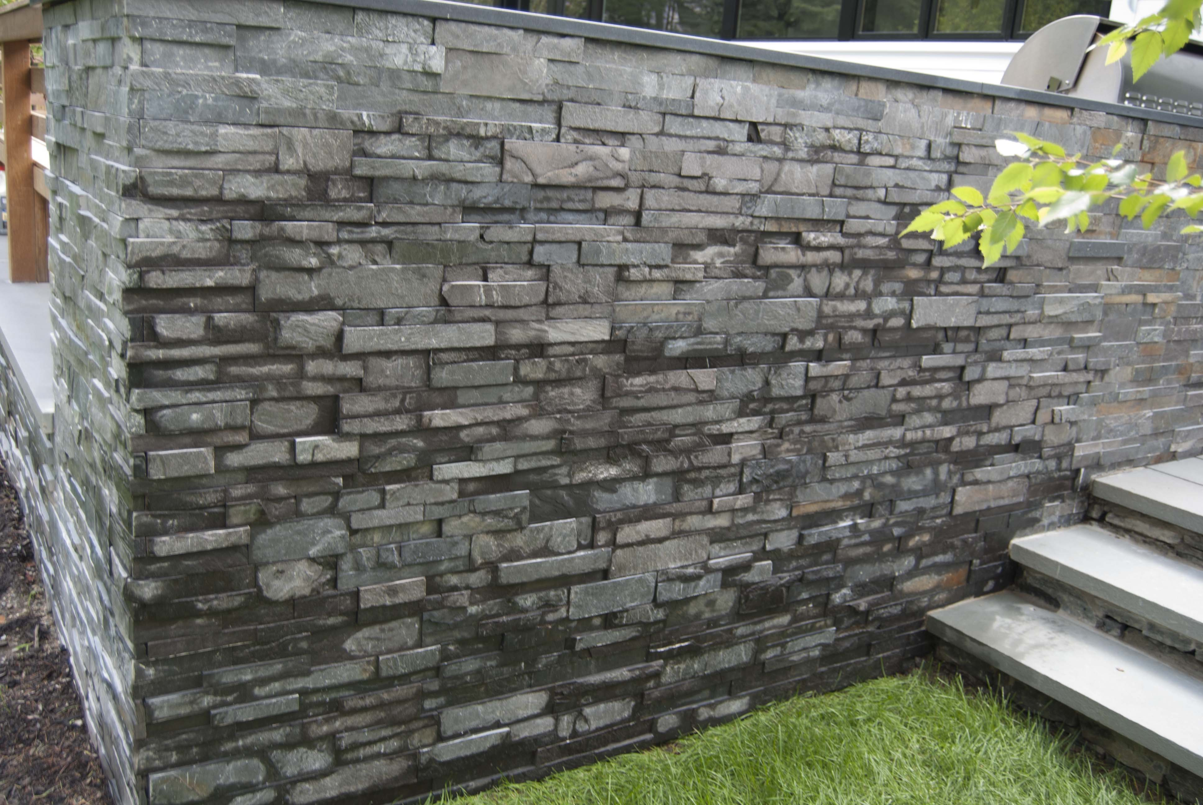 Charcoal Stacked Stone Garden Wall