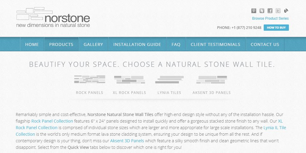 Screenshot of Norstone's website showing product navigation