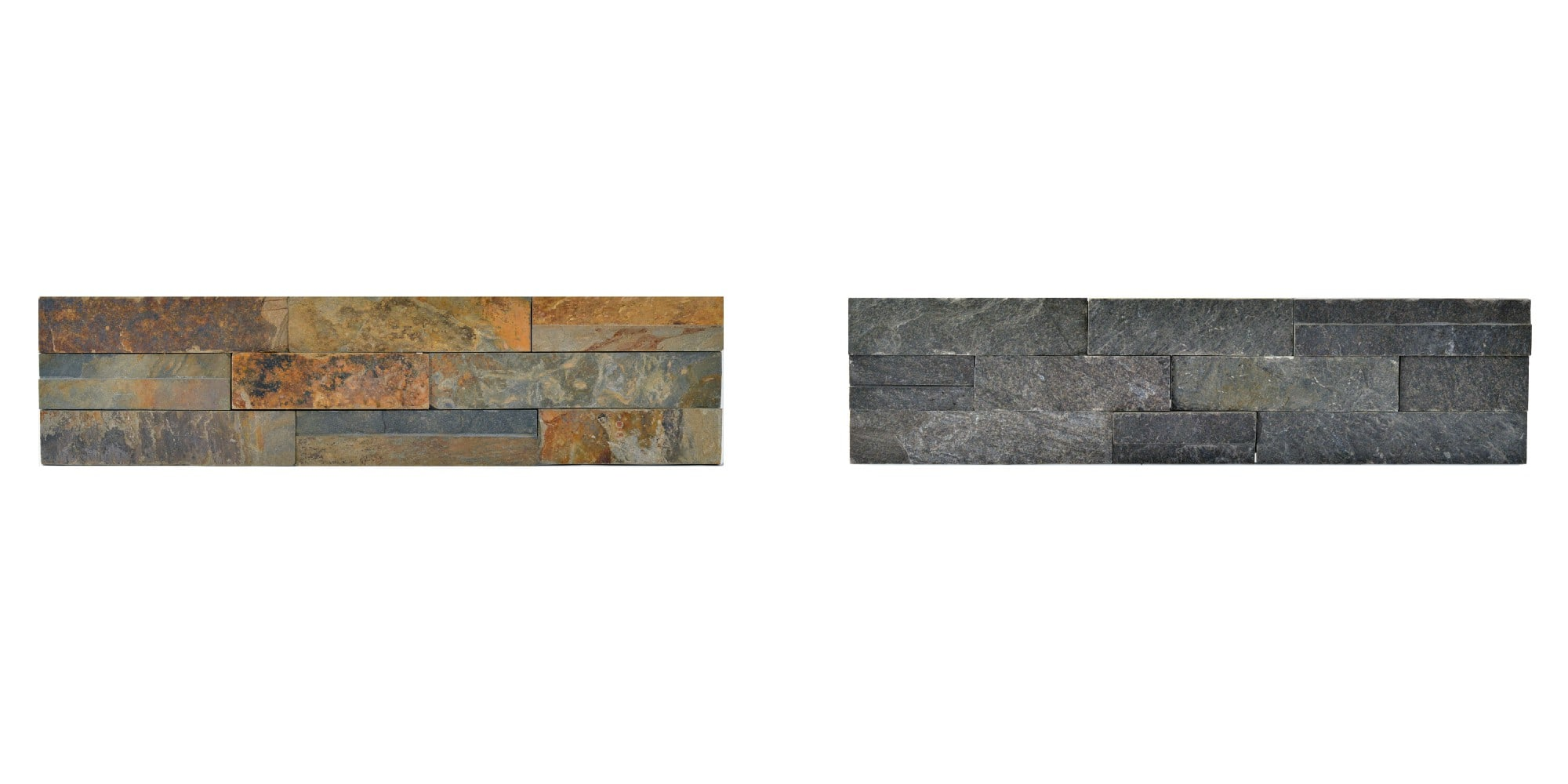 Norstone Slim Line Collage showing Ochre and Charcoal Field Units