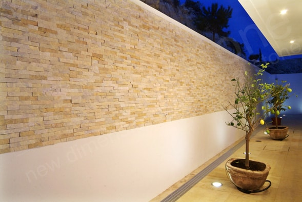 Norstone Ivory Rock Panels used in an outdoor courtyard of a vacation home in Cyprus