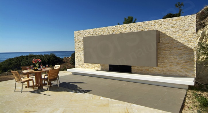 Norstone Ivory Stacked stone with a view of the Mediterranean Sea in Cyprus