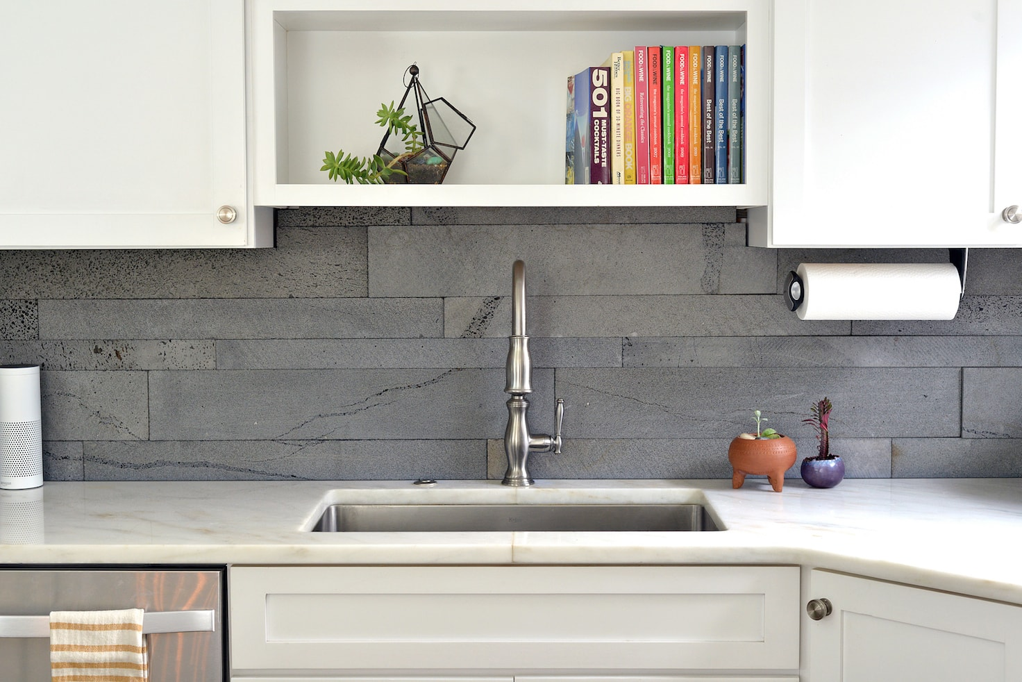 Norstone Lava Stone Planc In Platinum Color Used On A Modern Kitchen  Backsplash With Cabinets And