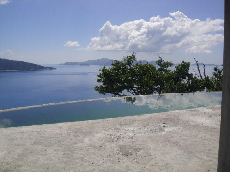 Infinity Edge Pool Under Construction with an incredible view in the Seychelle Islands Africa
