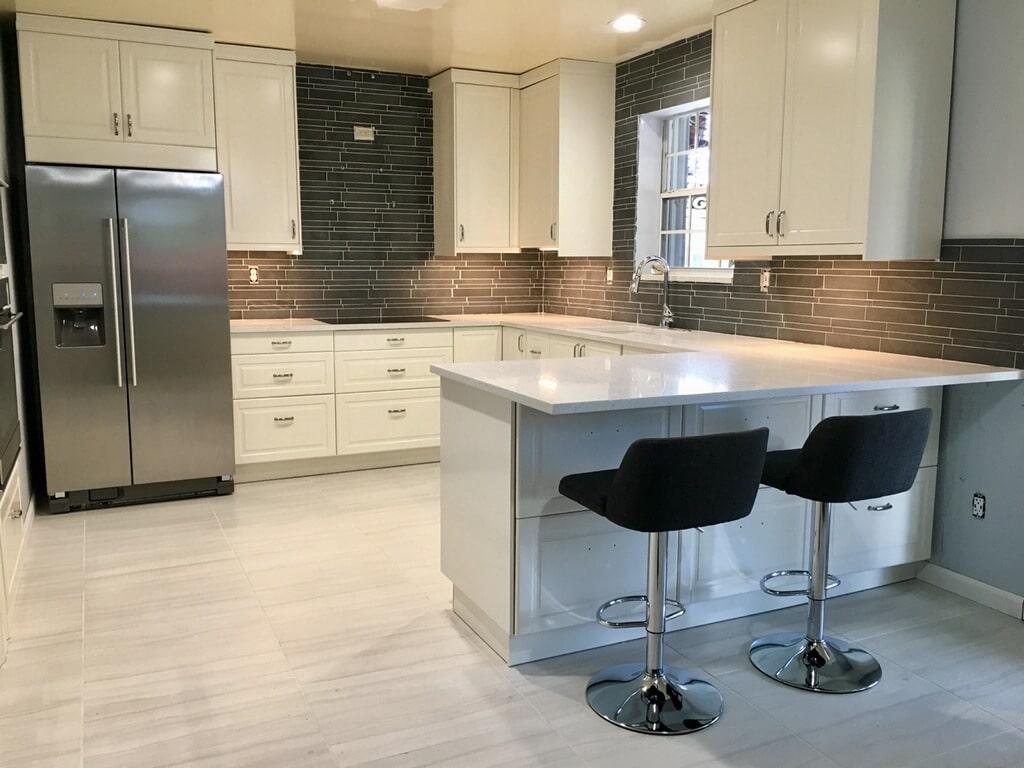 Kitchen Remodel Grey Lynia Interlocking Tile Backsplash