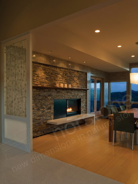 Norstone Ochre Rock Panels used on a natural stone veneer fireplace with cantilevered hearth