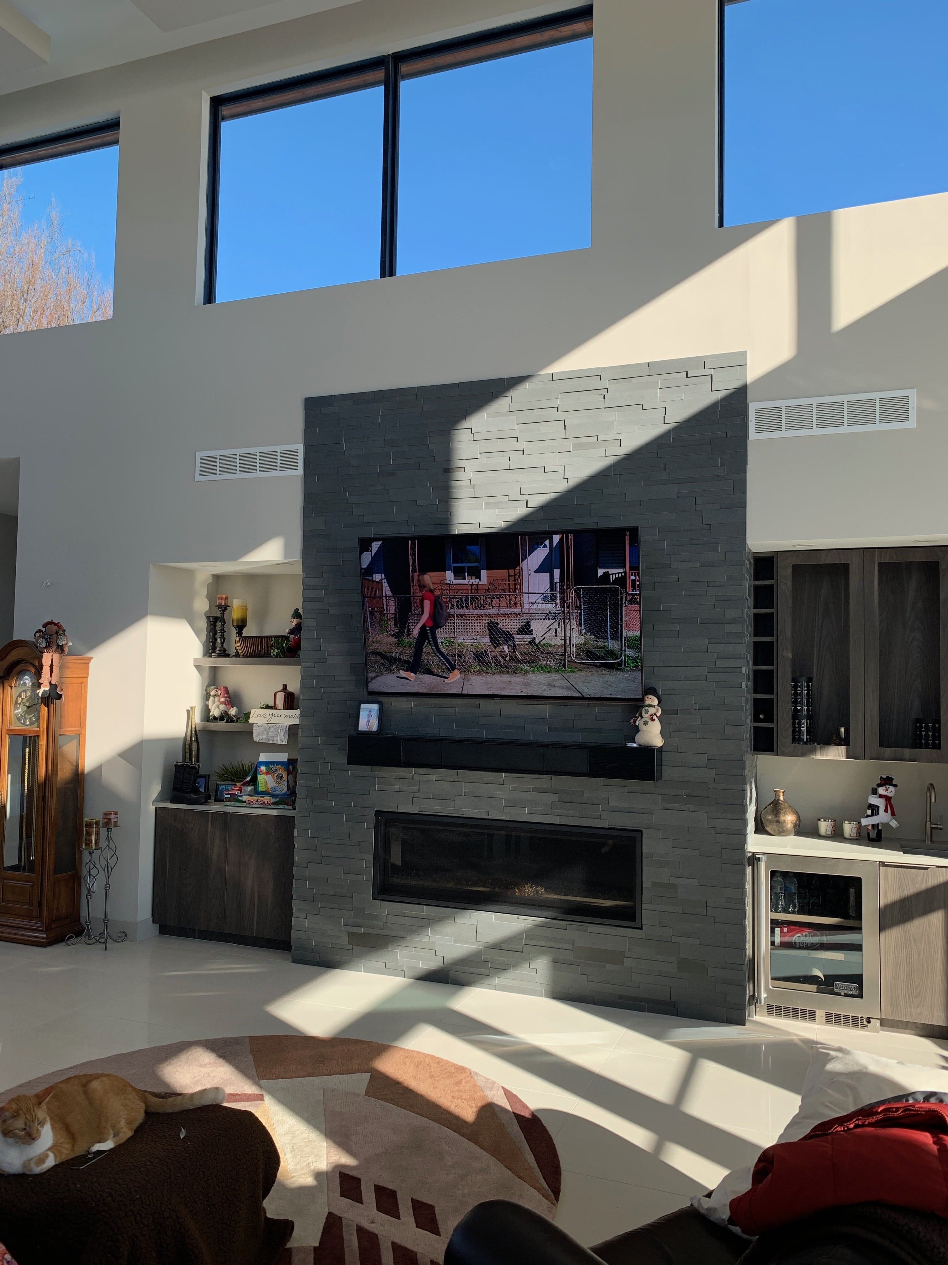 Grey Aksent Stone Panels For Modern Fireplace Design