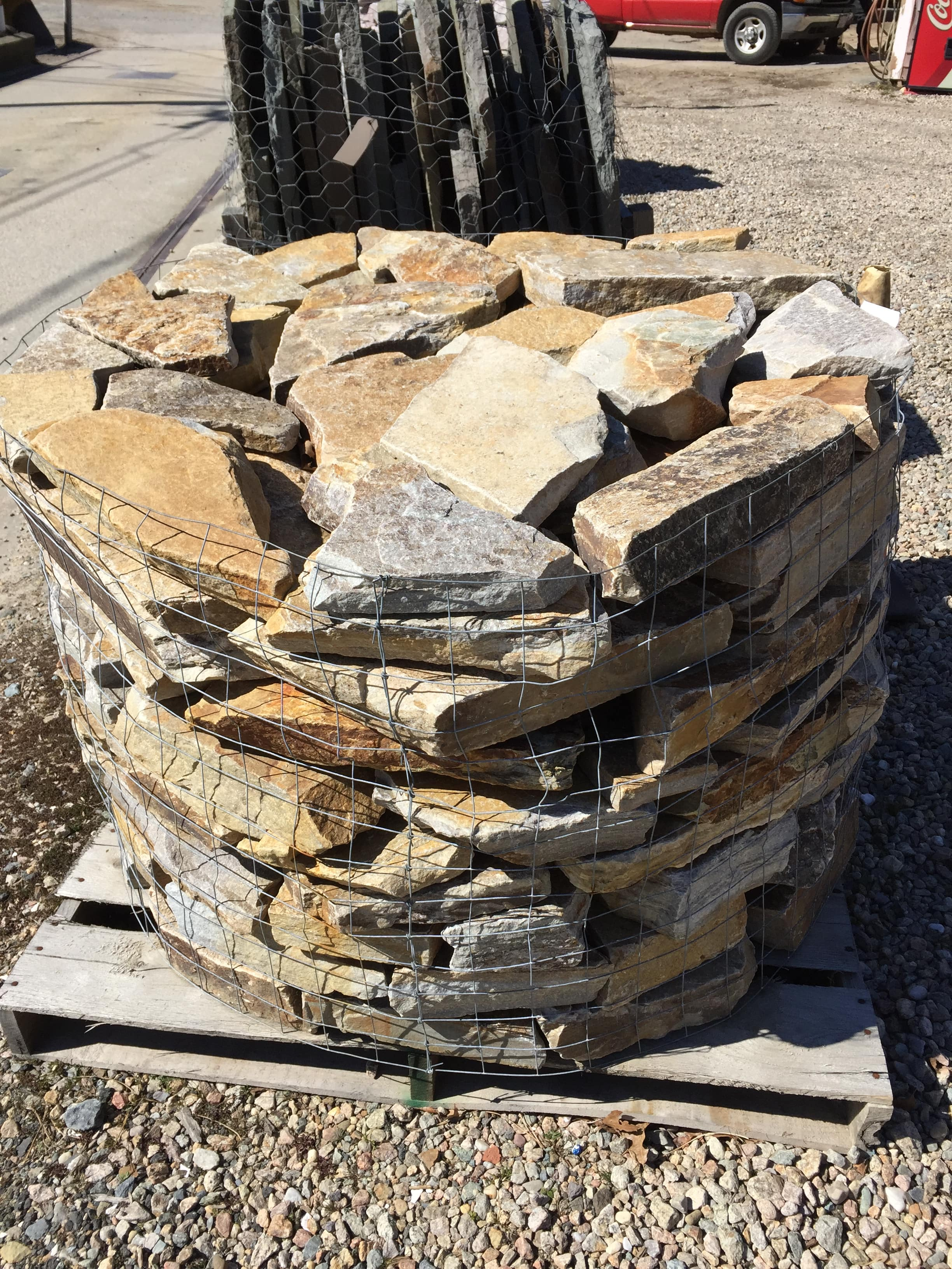 Traditional Hand Stacked Loose Stone on a pallet ready for installation