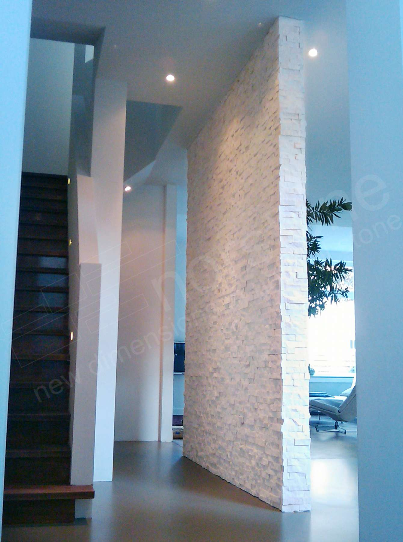 Norstone White Rock Panel on a large foyer feature wall