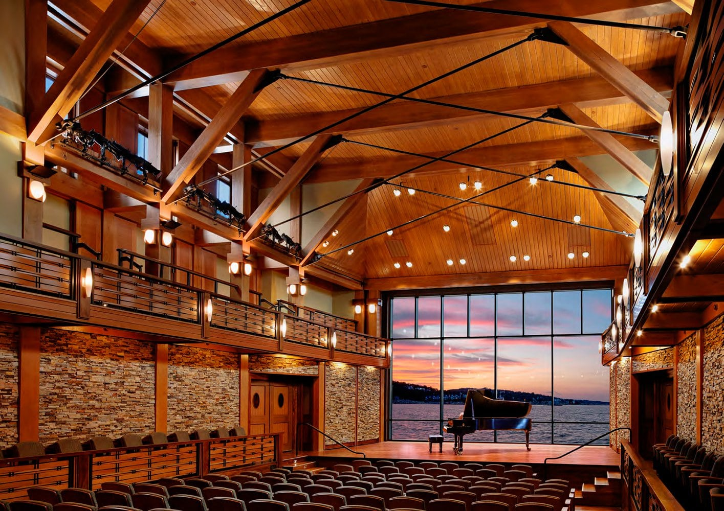 Norstone Architectural Grade Ochre Blend Standard Series Rock Panels at Rockport Concert Hall in Rockport, MA