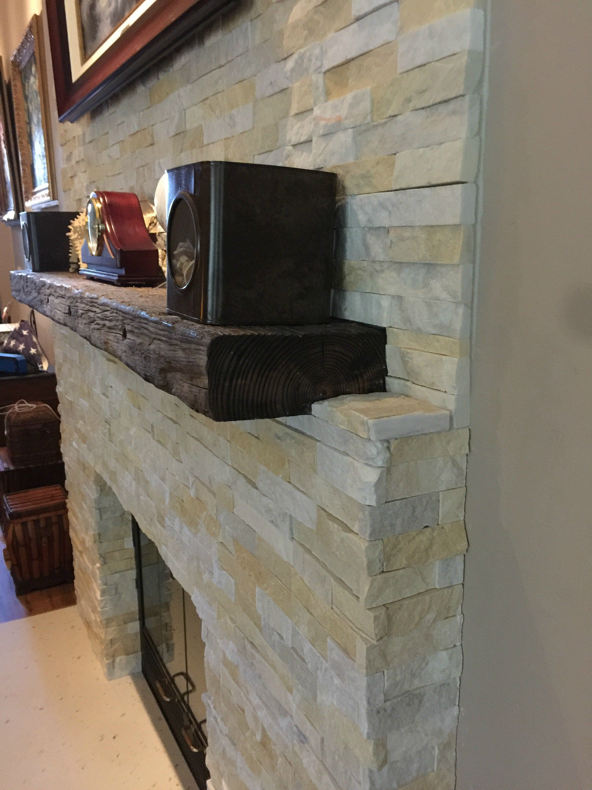 Norstone Natural End Stone Veneer Panels and Outside Finger Jointed Corner Units used in a residential fireplace remodel project
