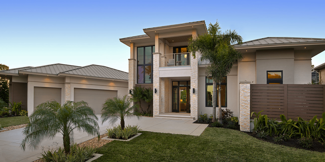 Norstone Ivory Stacked Stone Rock Panels on Entryway of Residential Suburban Home in Florida