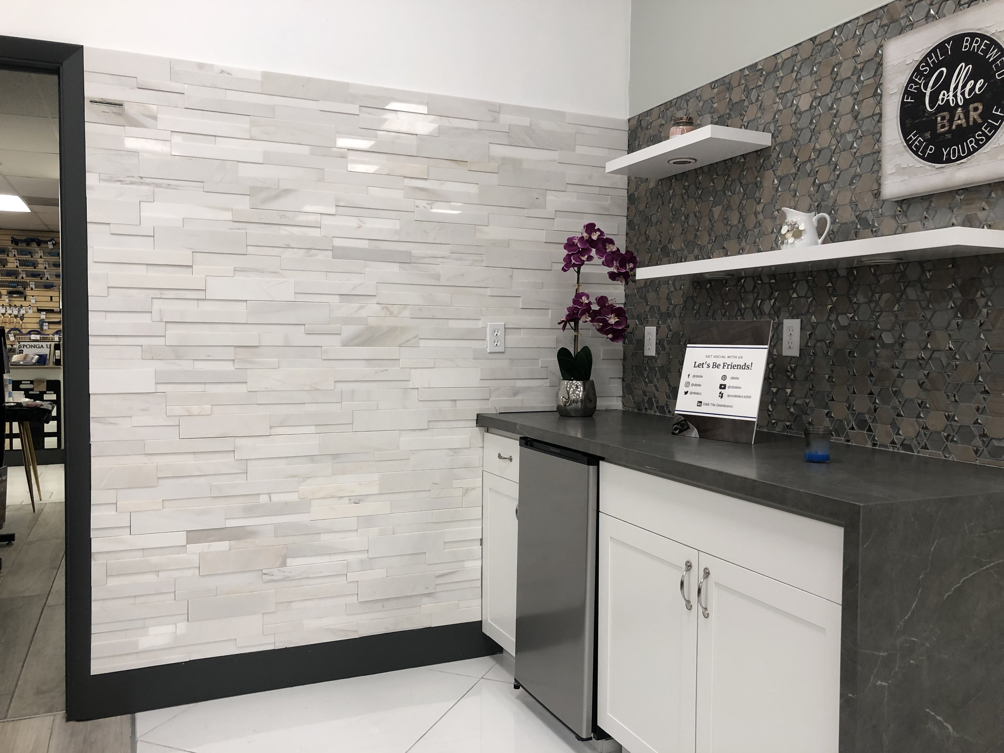 White Marble Aksent 3d Stone Panel Feature Wall