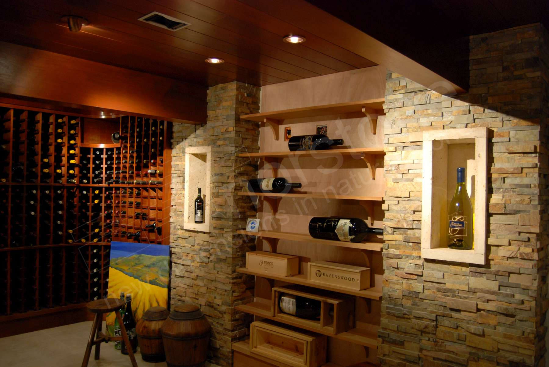 Norstone Ochre Stacked Stone Rock Panels on a feature wall of an underground Wine Cellar in California