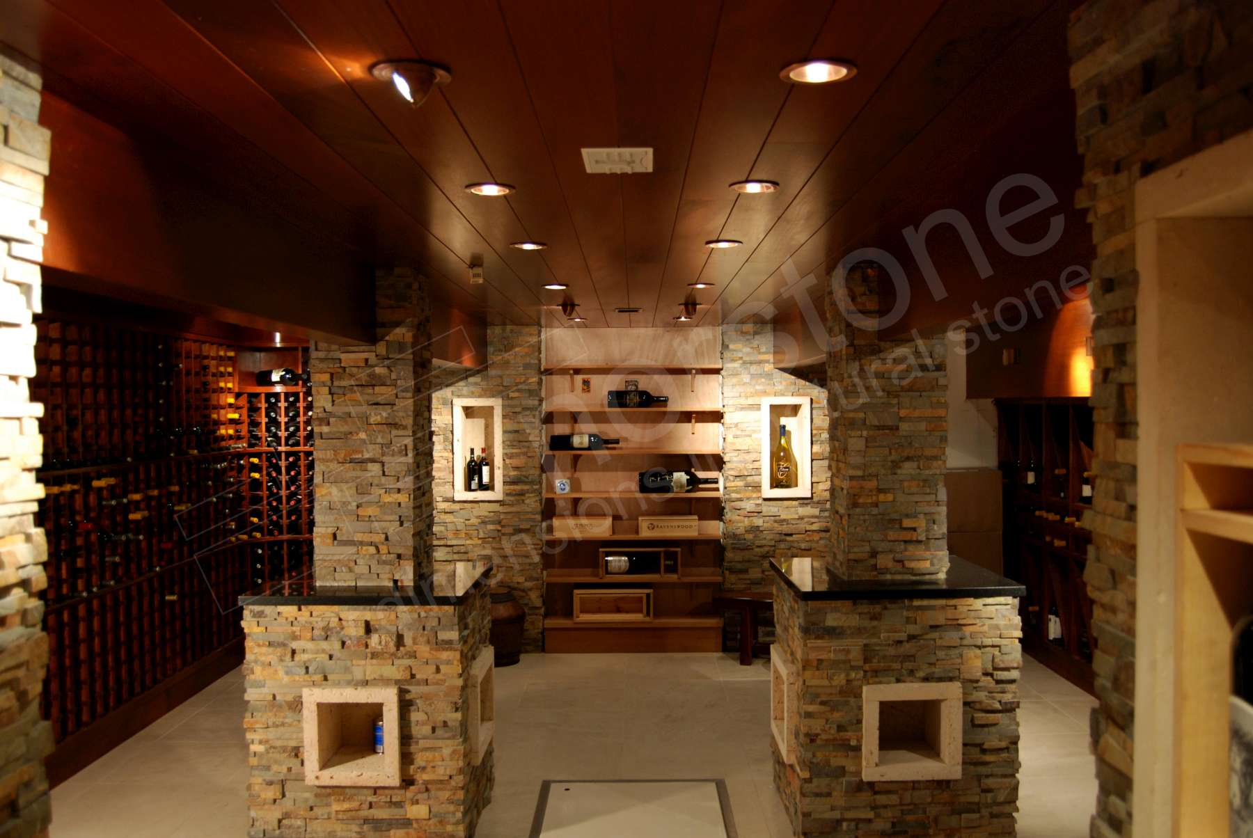Norstone Ochre Stacked Stone Rock Panels on the columns and walls of an underground Wine Cellar in California