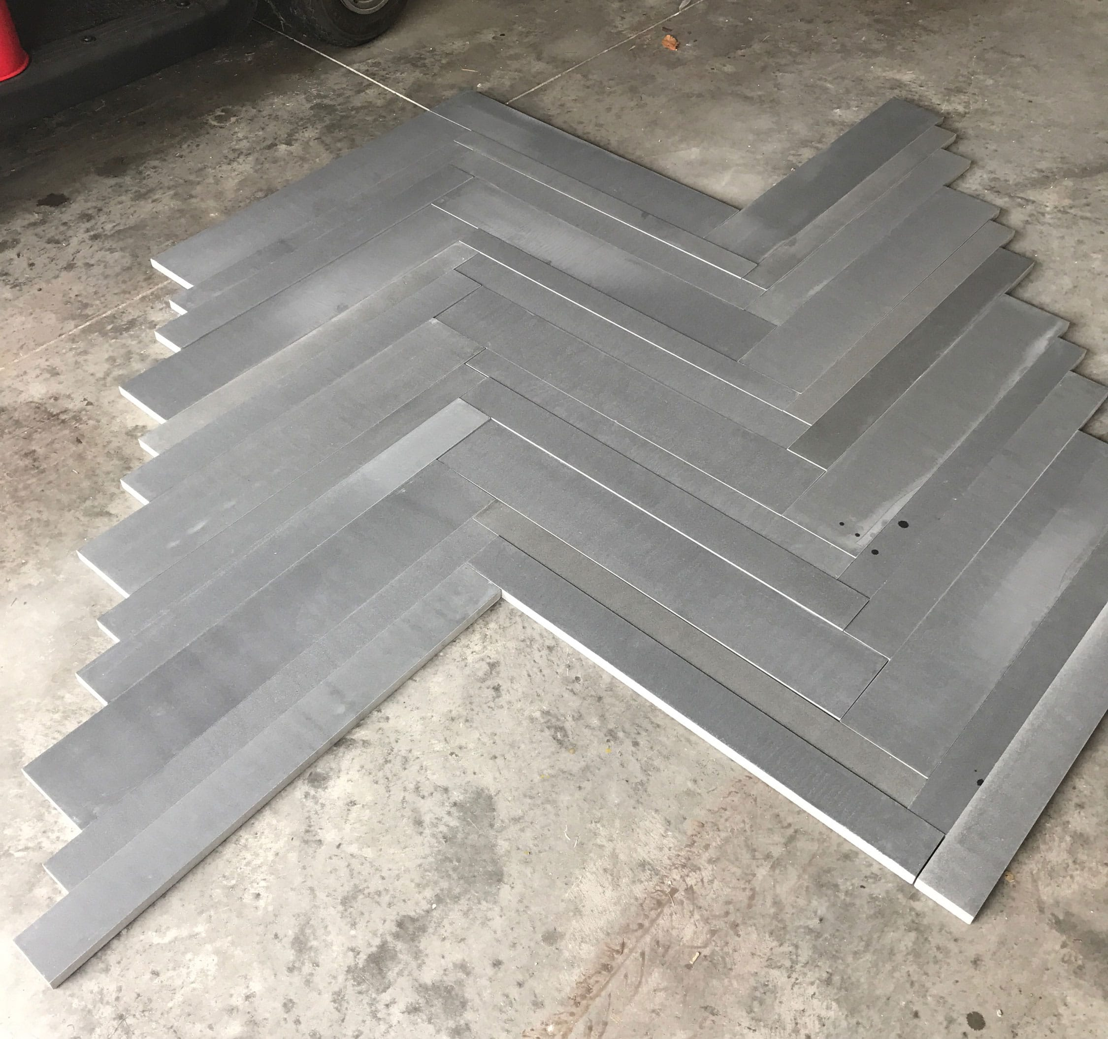 Norstone Planc Large Format Tile shown laid out in a Herringbone pattern