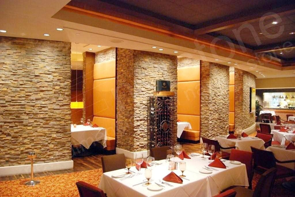Norstone Ochre Blend Stone Veneer Rock Panels at a high end steak house in Florida