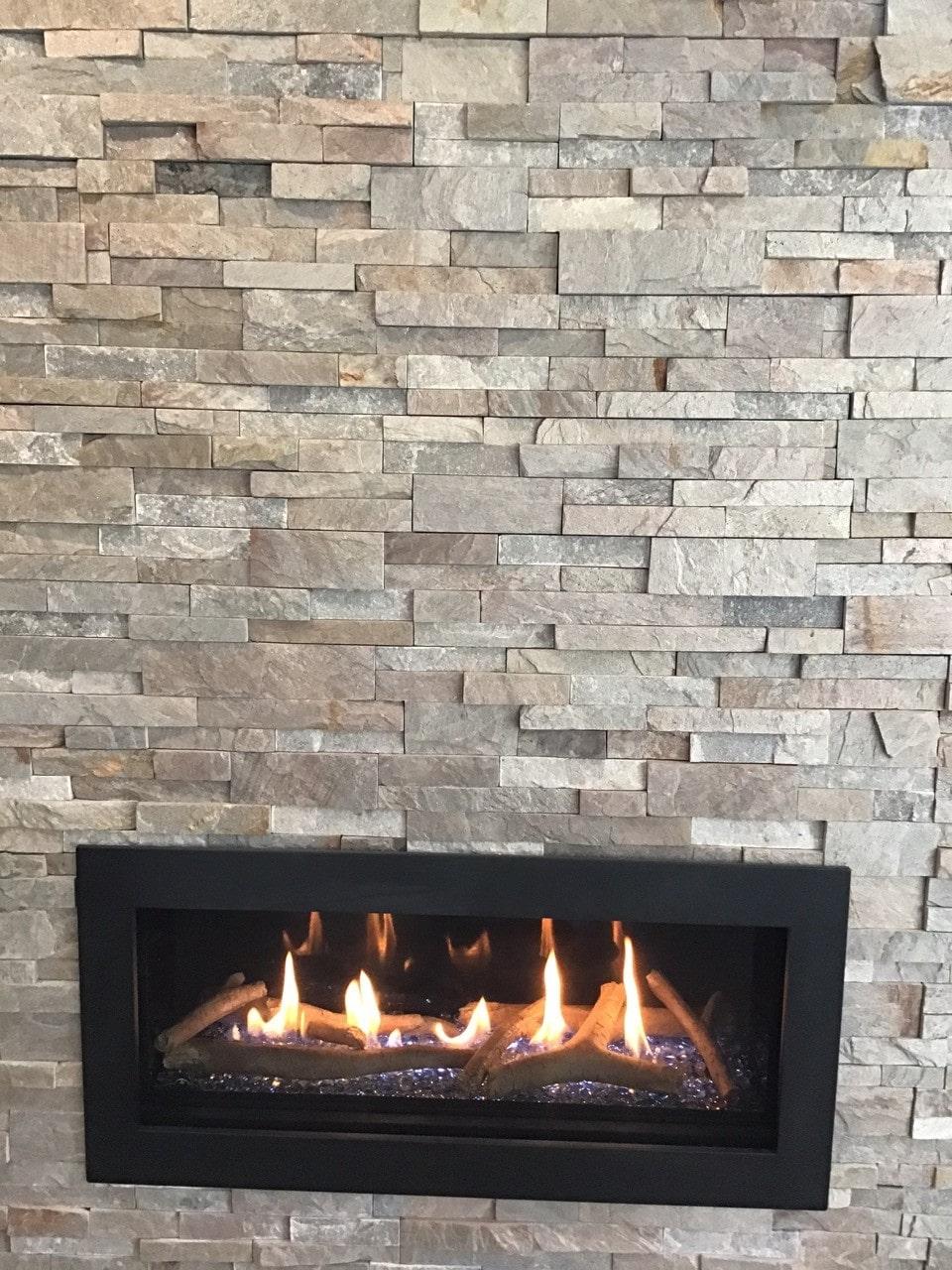Silver Grey Sierra Xlx Stacked Stone Fireplace